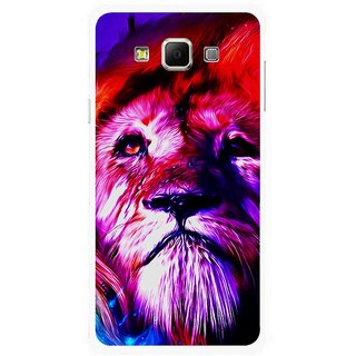 Snooky Printed Freaky Lion Mobile Back Cover For Samsung Galaxy E5 - Multicolour