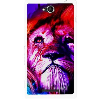 Snooky Printed Freaky Lion Mobile Back Cover For Sony Xperia C - Multicolour