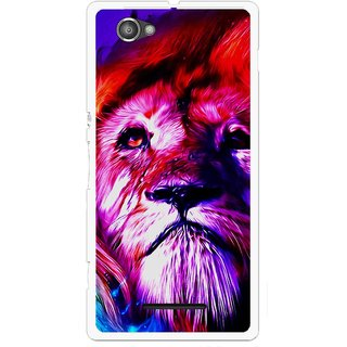 Snooky Printed Freaky Lion Mobile Back Cover For Sony Xperia M - Multicolour