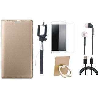 Oppo F5 Stylish Cover with Ring Stand Holder, Free Selfie Stick, Tempered Glass, Earphones and USB Cable