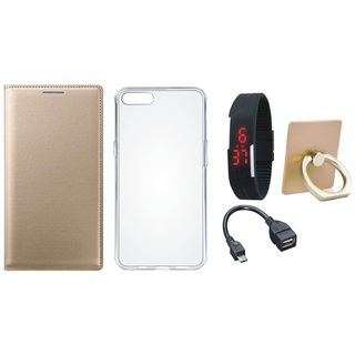 Motorola Moto G5s Leather Cover with Ring Stand Holder, Silicon Back Cover, Digital Watch and OTG Cable