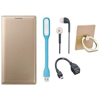 Motorola Moto G5s Leather Cover with Ring Stand Holder, Earphones, USB LED Light and OTG Cable