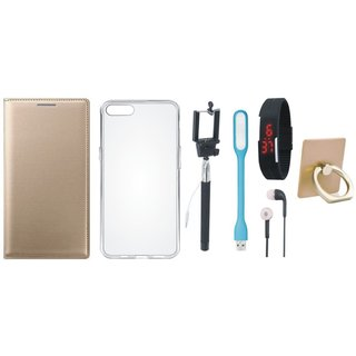 Samsung C7 Pro Premium Leather Cover with Ring Stand Holder, Silicon Back Cover, Selfie Stick, Digtal Watch, Earphones and USB LED Light