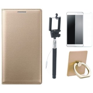 Motorola Moto G5s Leather Cover with Ring Stand Holder, Free Selfie Stick and Tempered Glass