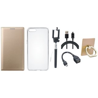 Oppo F5 Leather Flip Cover with with Ring Stand Holder, Silicon Back Cover, Selfie Stick, OTG Cable and USB Cable
