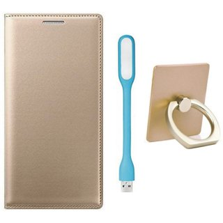 Oppo F5 Leather Flip Cover with with Ring Stand Holder, USB LED Light