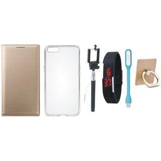 Oppo F5 Leather Flip Cover with with Ring Stand Holder, Silicon Back Cover, Selfie Stick, Digtal Watch and USB LED Light