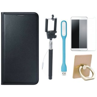 Motorola Moto C Plus Luxury Cover with Ring Stand Holder, Free Selfie Stick, Tempered Glass, and LED Light