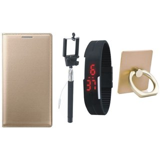 Samsung C7 Pro Premium Leather Cover with Ring Stand Holder, Selfie Stick and Digtal Watch