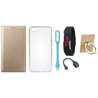 Motorola Moto C Plus Leather Cover with Ring Stand Holder, Silicon Back Cover, Digital Watch, OTG Cable and USB LED Light