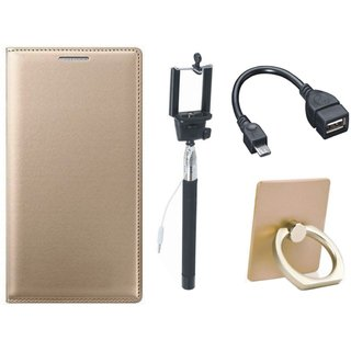 Motorola Moto C Plus Leather Cover with Ring Stand Holder, Selfie Stick and OTG Cable