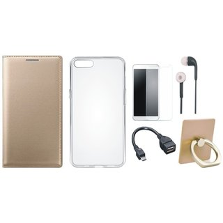 Oppo F5 Leather Flip Cover with with Ring Stand Holder, Silicon Back Cover, Tempered Glass, Earphones and OTG Cable