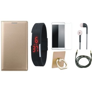 Oppo F5 Leather Flip Cover with with Ring Stand Holder, Free Digital LED Watch, Tempered Glass, Earphones and AUX Cable