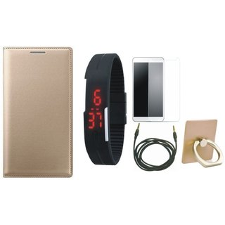 Motorola Moto C Plus Premium Leather Cover with Ring Stand Holder, Free Digital LED Watch, Tempered Glass and AUX Cable