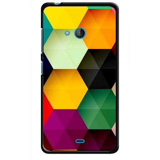 Snooky Printed Hexagon Mobile Back Cover For Nokia Lumia 540 - Multicolour
