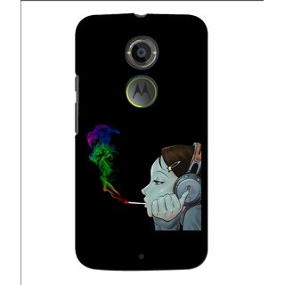 Snooky Printed Color Of Smoke Mobile Back Cover For Moto X 2nd Gen. - Multi