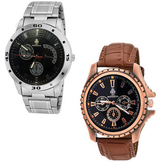 Stylish watch combo of Copper rugged and Chain analog watch