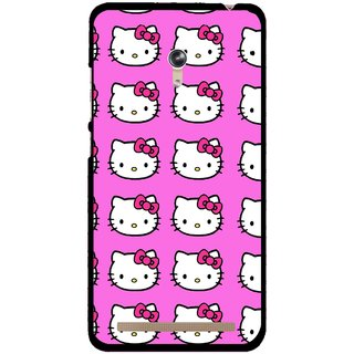 Snooky Printed Pink Kitty Mobile Back Cover For Asus Zenfone 6 - Multicolour