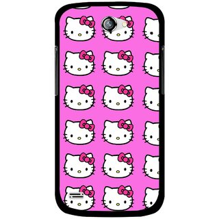 Snooky Printed Pink Kitty Mobile Back Cover For Gionee Pioneer P3 - Multicolour