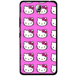 Snooky Printed Pink Kitty Mobile Back Cover For Lenovo A5000 - Multicolour