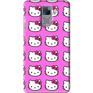 Snooky Printed Pink Kitty Mobile Back Cover For Huawei Honor 7 - Multi