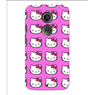 Snooky Printed Pink Kitty Mobile Back Cover For Moto X 2nd Gen. - Multi