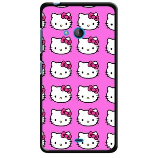 Snooky Printed Pink Kitty Mobile Back Cover For Nokia Lumia 540 - Multicolour