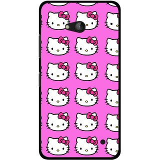 Snooky Printed Pink Kitty Mobile Back Cover For Nokia Lumia 640 - Multicolour