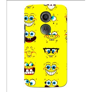 Snooky Printed Cartoon faces Mobile Back Cover For Moto X 2nd Gen. - Multi
