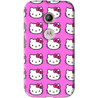 Snooky Printed Pink Kitty Mobile Back Cover For Motorola Moto E2 - Multi