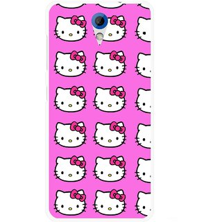 Snooky Printed Pink Kitty Mobile Back Cover For HTC Desire 620 - Multicolour
