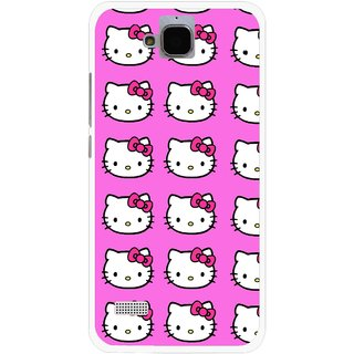 Snooky Printed Pink Kitty Mobile Back Cover For Huawei Honor Holly - Multicolour
