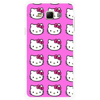 Snooky Printed Pink Kitty Mobile Back Cover For Samsung Galaxy E7 - Multicolour