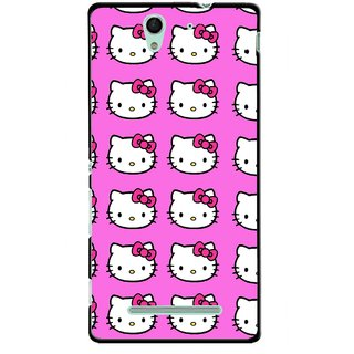 Snooky Printed Pink Kitty Mobile Back Cover For Sony Xperia C3 - Multicolour