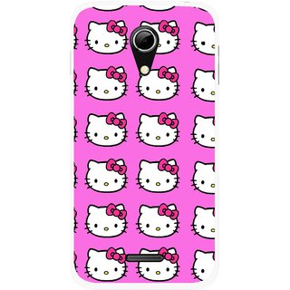 Snooky Printed Pink Kitty Mobile Back Cover For Micromax A114 - Multicolour
