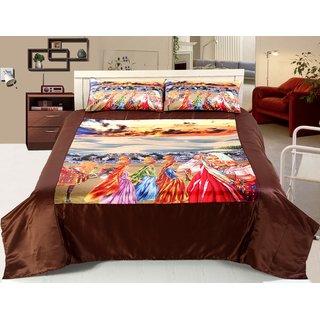 Welhouse India Culture Print satin Double bedsheet  2 Pillow Covers