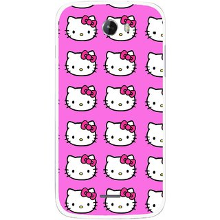 Snooky Printed Pink Kitty Mobile Back Cover For Micromax Bolt A068 - Multicolour