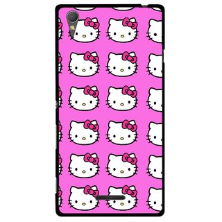 Snooky Printed Pink Kitty Mobile Back Cover For Sony Xperia T3 - Multicolour