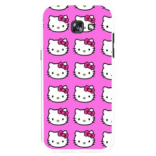 Snooky Printed Pink Kitty Mobile Back Cover For Samsung Galaxy A7 (2017) - Multicolour