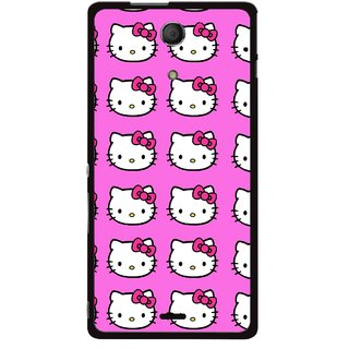 Snooky Printed Pink Kitty Mobile Back Cover For Sony Xperia ZR - Multicolour