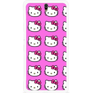 Snooky Printed Pink Kitty Mobile Back Cover For Sony Xperia C5 - Multicolour