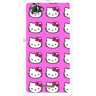 Snooky Printed Pink Kitty Mobile Back Cover For Sony Xperia L - Multicolour