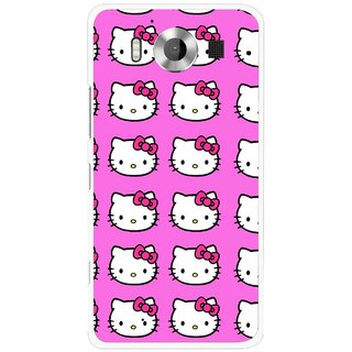Snooky Printed Pink Kitty Mobile Back Cover For Microsoft Lumia 950 - Multicolour