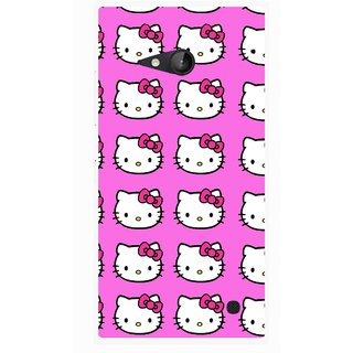 Snooky Printed Pink Kitty Mobile Back Cover For Nokia Lumia 730 - Multicolour