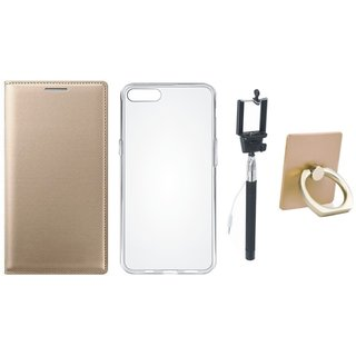 Motorola Moto C Plus Flip Cover with Ring Stand Holder, Silicon Back Cover, Free Silicon Back Cover and Selfie Stick