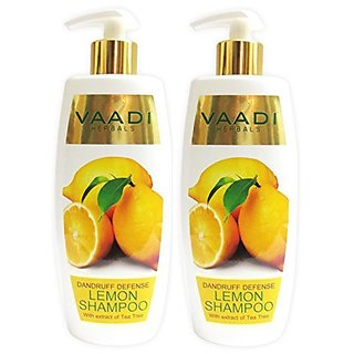 Lemon with Tea Tree Extract Shampoo - Dandruff Defense Shampoo - ALL Natural Shampoo - Paraben Free - Sulfate Free - Scalp Therapy - Moisture Therapy - Suitable for All Hair Types - Value Pack of 2 X 11.8 Ounces - Vaadi Herbals