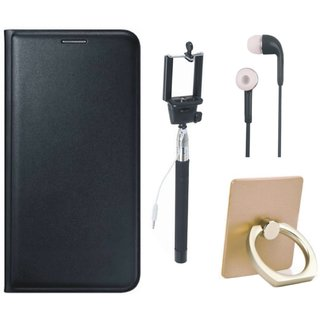 Samsung J7 Max ( SM-G615F ) Stylish Cover with Ring Stand Holder, Selfie Stick and Earphones