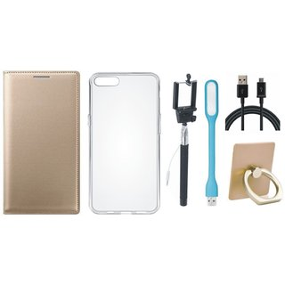 Motorola Moto G5s Leather Flip Cover with with Ring Stand Holder, Silicon Back Cover, Selfie Stick, USB LED Light and USB Cable