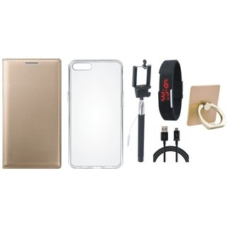Motorola Moto C Plus Premium Leather Cover with Ring Stand Holder, Silicon Back Cover, Selfie Stick, Digtal Watch and USB Cable