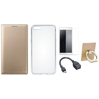 Motorola Moto C Plus Premium Leather Cover with Ring Stand Holder, Silicon Back Cover, Tempered Glass and OTG Cable